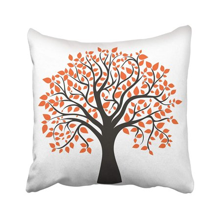 Red Maple Tree Leaves (BPBOP Orange Oak Autumn Tree For Your Design Red Maple Fall Silhouette Abstract Leaf Pillowcase Pillow Cushion Cover 16x16 inches )