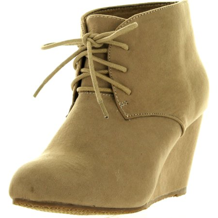 ANNA SALLY-5 Womens Adorable Almond Toe Lace up Wedge Ankle Bootie - Lace Womens Booties