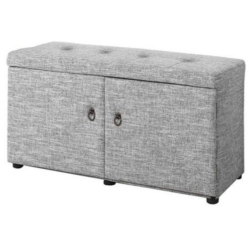 "18"" Dove Grey Shoe Storage Ottoman"