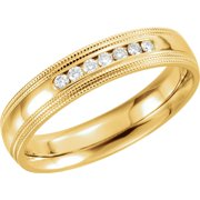 14k Yellow Gold 1 6 Ct Diamond 5mm Half Round Comfort-Fit Double Milgrain Wedding Band - Size 6.5
