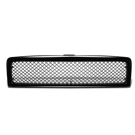 For 1994 to 2002 Dodge Ram Diamond Mesh Front Upper Bumper Grille Guard (Glossy Black) - BR BE 2nd gen