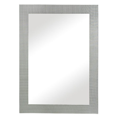 Majestic Mirror Contemporary Rectangular Silver with Tiled Glass Inlay Accent Wall Mirror