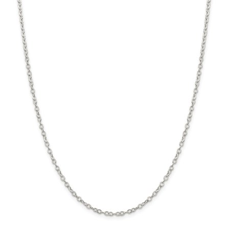 Sterling Silver 2.5mm Flat Open Oval Cable Chain Necklace - Length: 16 to 24