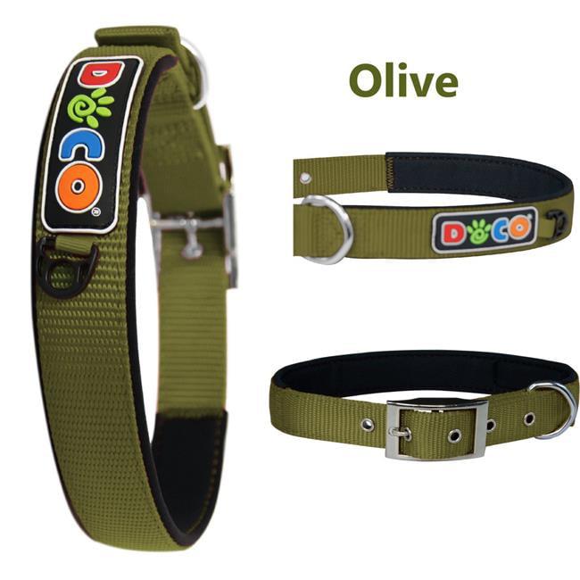 Doco DCSN003-10XL Signature Zinc Buckle Neoprene Nylon Collar, Olive Green - Extra Large