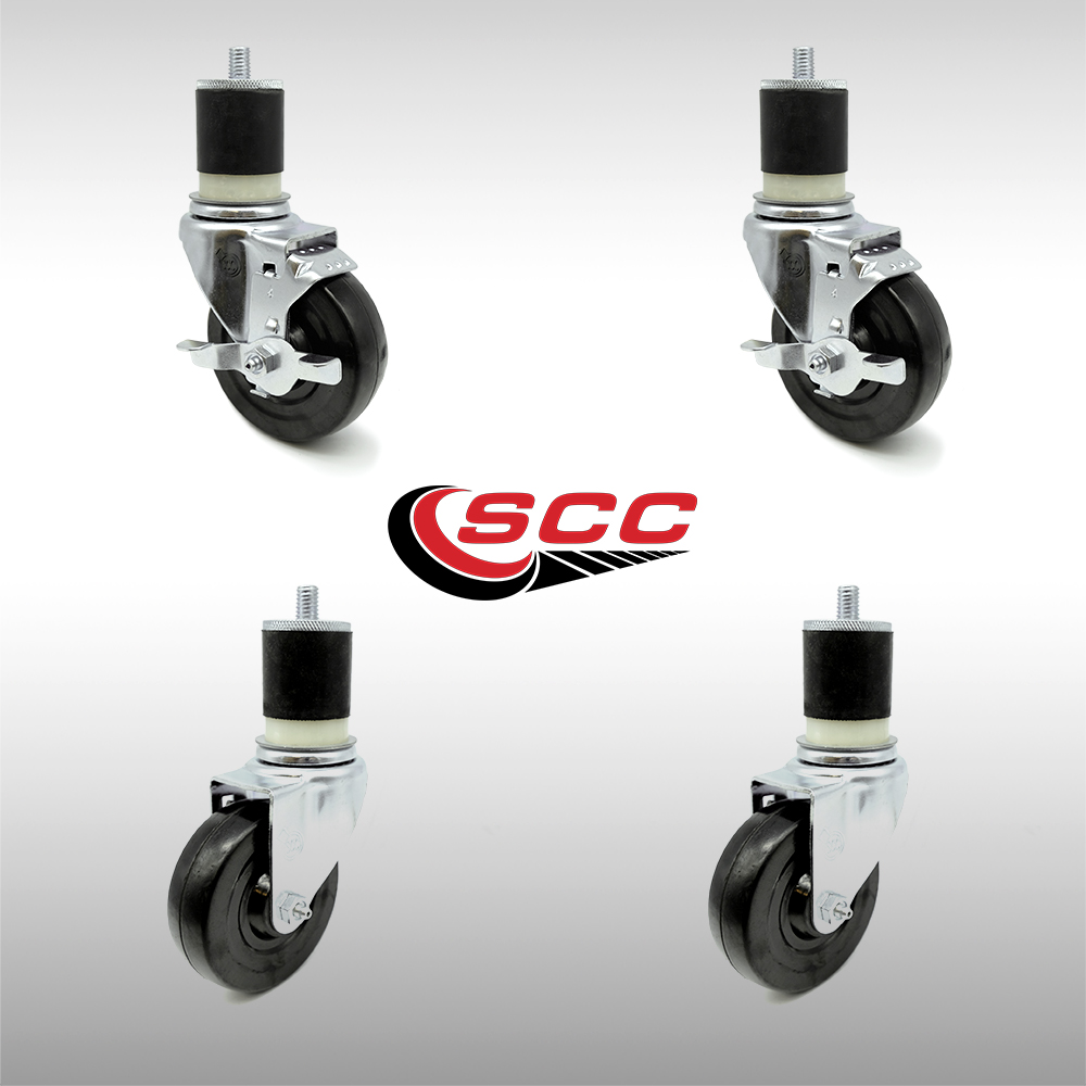 "Service Caster - Stainless Steel 4"" x 1.25"" Hard Rubber Wheels Caster Set of 4 - 2 Swivel/2 Swivel Casters w/Top Locking Brakes w/1-7/8"" Expanding Stem"