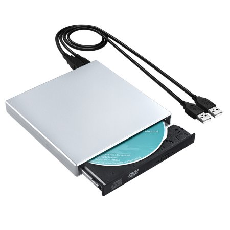 Portable CD Drive, Slim External CD-RW Drive DVD-R Combo Burner Player For Notebook PC Desktop Computer, Silver