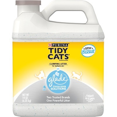 Purina Tidy Cats Glade Tough Odor Solutions Clear Springs Non-Clumping Cat Litter, 14 Lb.