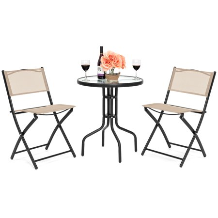 Best Choice Products 3-Piece Round Outdoor Bistro Set with Textured Glass Table Top, Tan ()