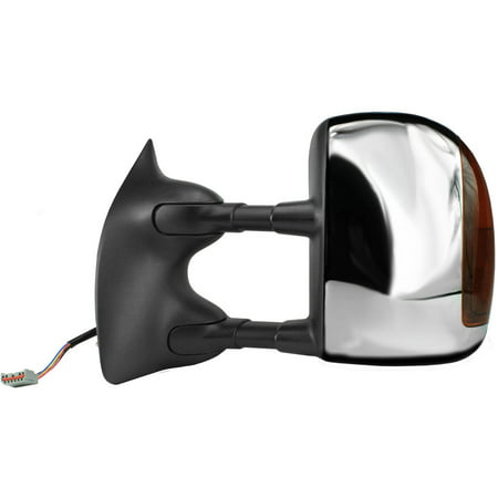 61216F - Fit System Driver Side Towing Mirror for 01-05 Ford Excursion, 01-07 Ford F250, F350, F450, F550 Super Duty Pick-Up from 02/18/01, blk/ chrome cover, signal, dual lens, fold, Heated Power