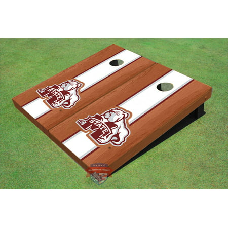 Mississippi State University Bulldog White Rosewood Matching Long Stripe Cornhole Boards