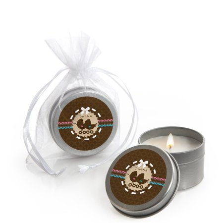 Twin Baby Carriages 1 Boy & 1 Girl - Twins Baby Shower Candle Tin Party Favor...