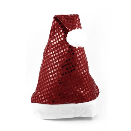 Unique Bargains Adults White True Red Glittery Detail Christmas Santa Claus Hat Cap Gift for $<!---->