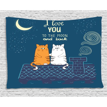 - I Love You Tapestry, Love Cats on the Roof under Night Sky Moon Stars Caricature Kitty Image, Wall Hanging for Bedroom Living Room Dorm Decor, 80W X 60L Inches, Petrol Blue Ivory, by Ambesonne