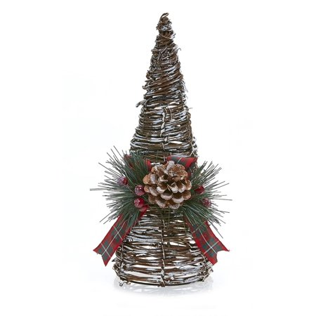 12 country rustic snowy grapevine christmas tree table top decoration - Table Christmas Tree