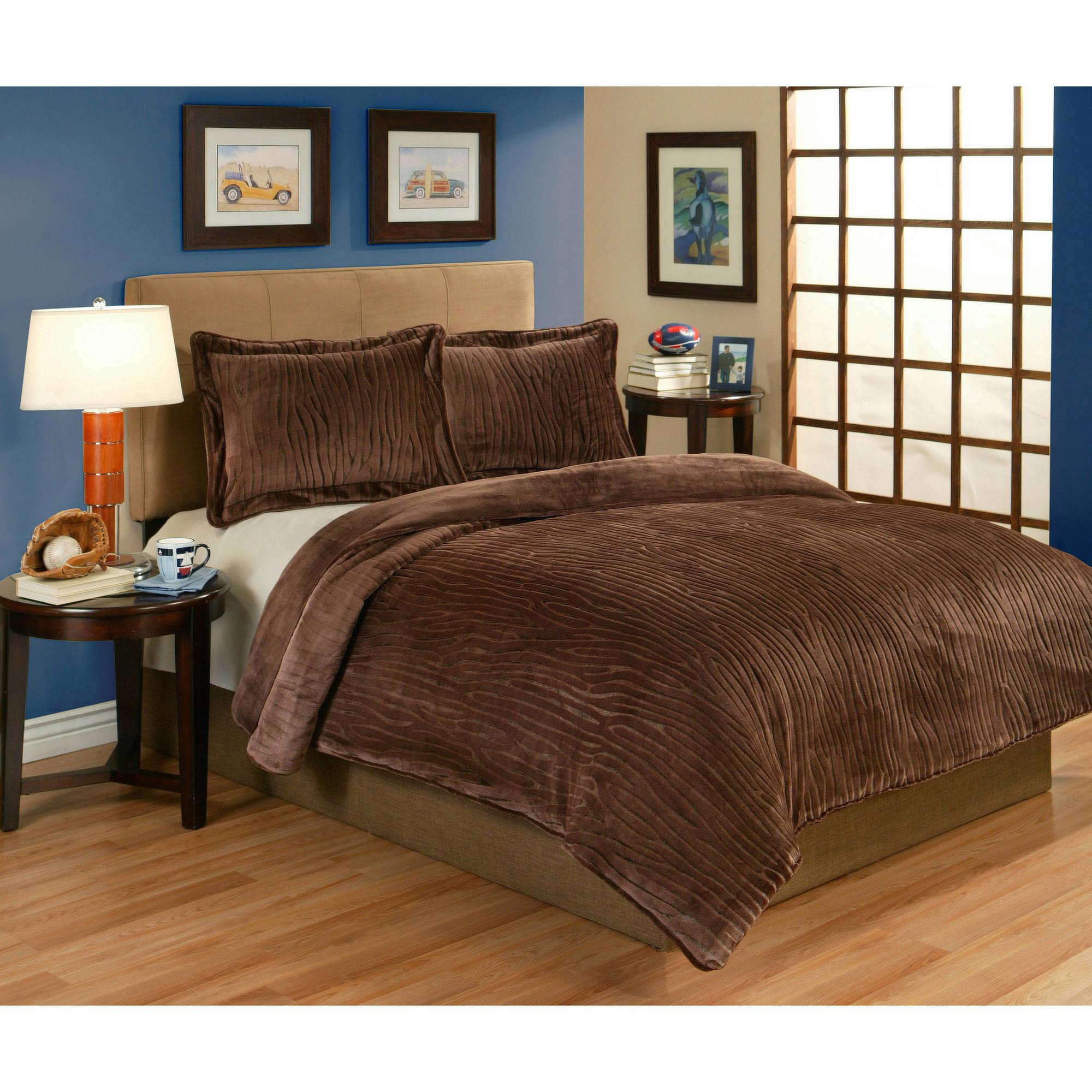 Lodge Velvet Plush Sculpted Bedding Comforter Mini Set