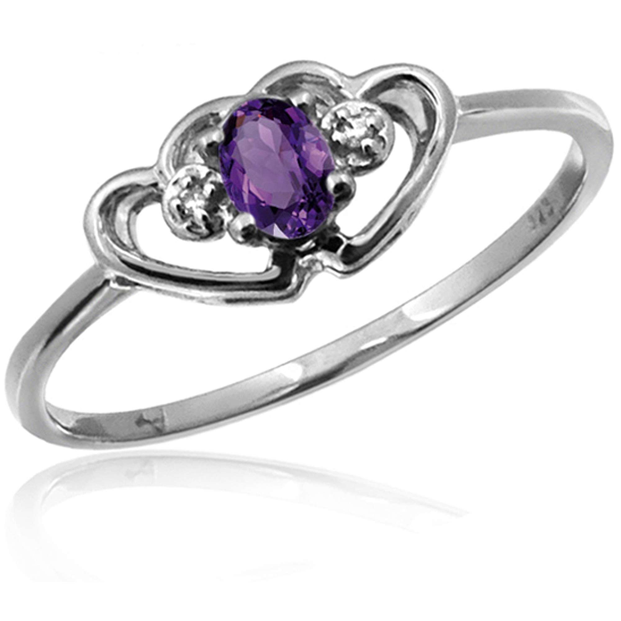 JewelersClub 0.15 Carat T.G.W. Amethyst Gemstone and White Diamond Accent Ring
