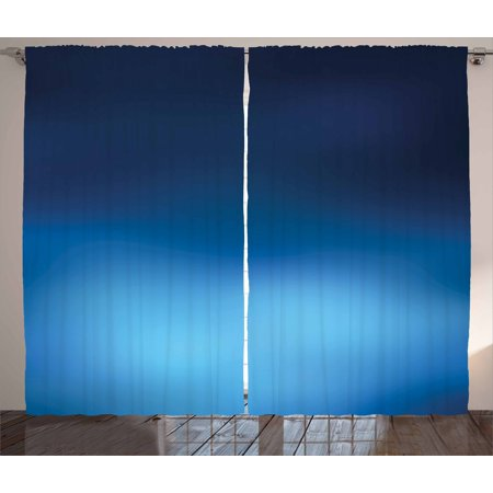 Navy Curtains 2 Panels Set, Ombre Style Deep Sea Ocean Underwater Themed Digital Colored Graphic Design Art Print, Window Drapes for Living Room Bedroom, 108W X 84L Inches, Dark Blue, by Ambesonne