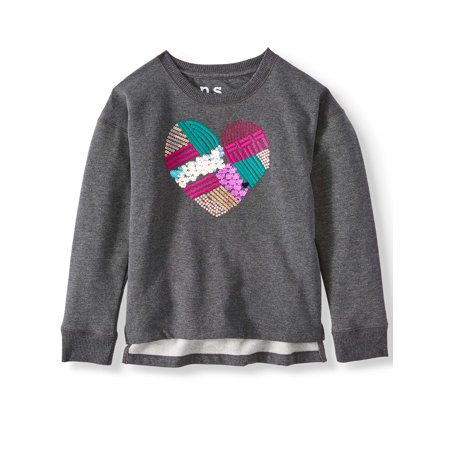 p.s.09 from aeropostale Embroidered Patchwork Heart Fleece Sweatshirt (Little Girls & Big Girls)