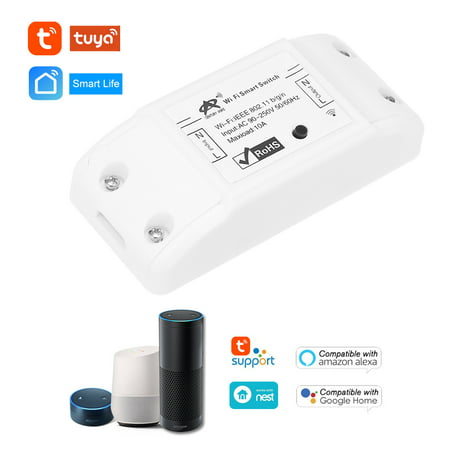 New Tuya Wifi Switch 10A/2200W Wireless Remote Switch DIY Relay Module for Android/IOS APP Control Timer Compatible with Alexa Google Home for Universal Smart Home