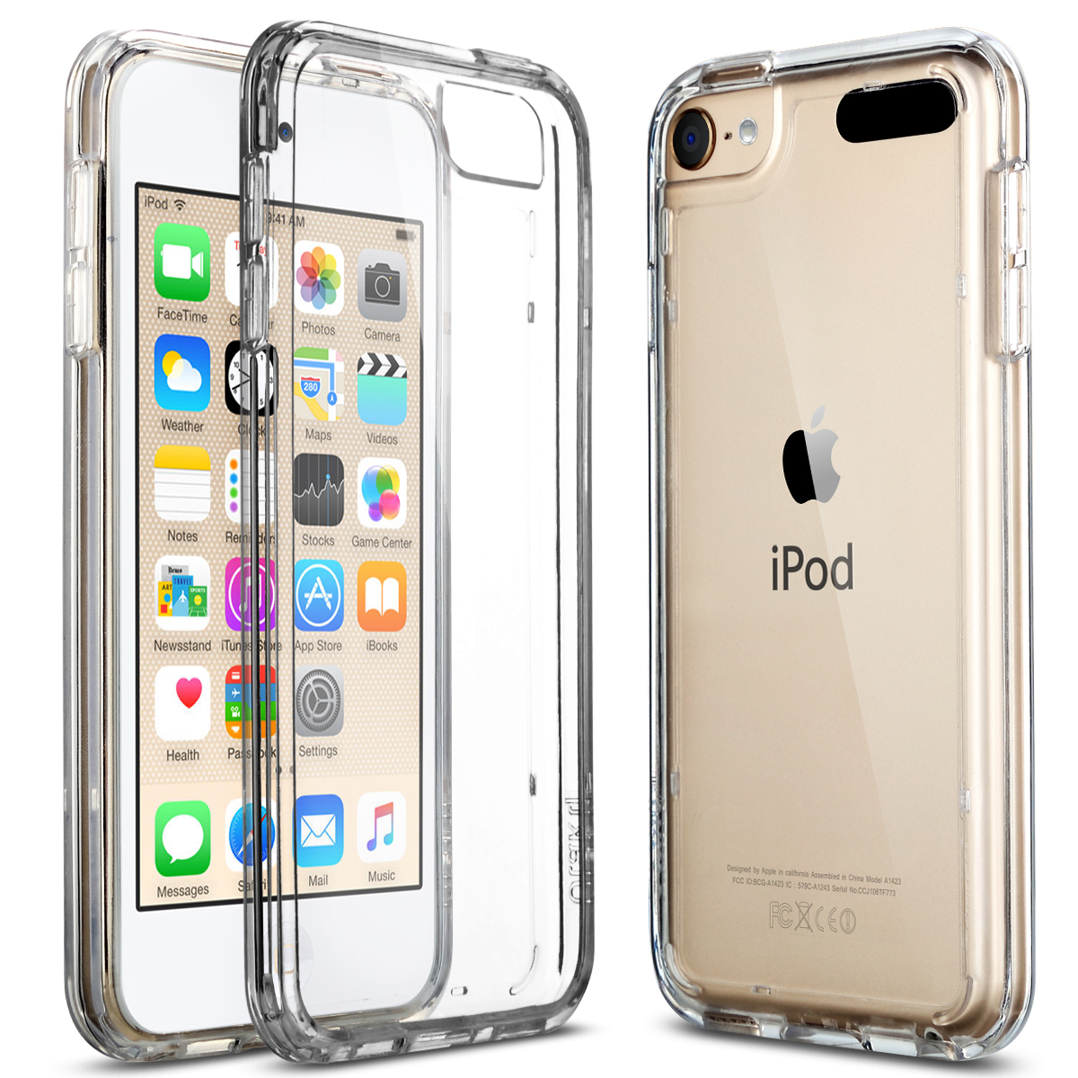 ULAK Soft TPU Bumper PC Back Hybrid Case for iPod Touch 6/iPod Touch 5 - Retail Packaging - Clear Slim (Clear)