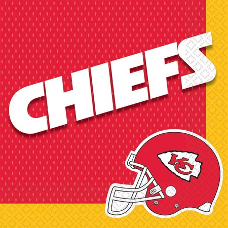 Amscan Kansas City Chiefs NFL Football 13in Luncheon Napkins, Yellow Red, 16 CT
