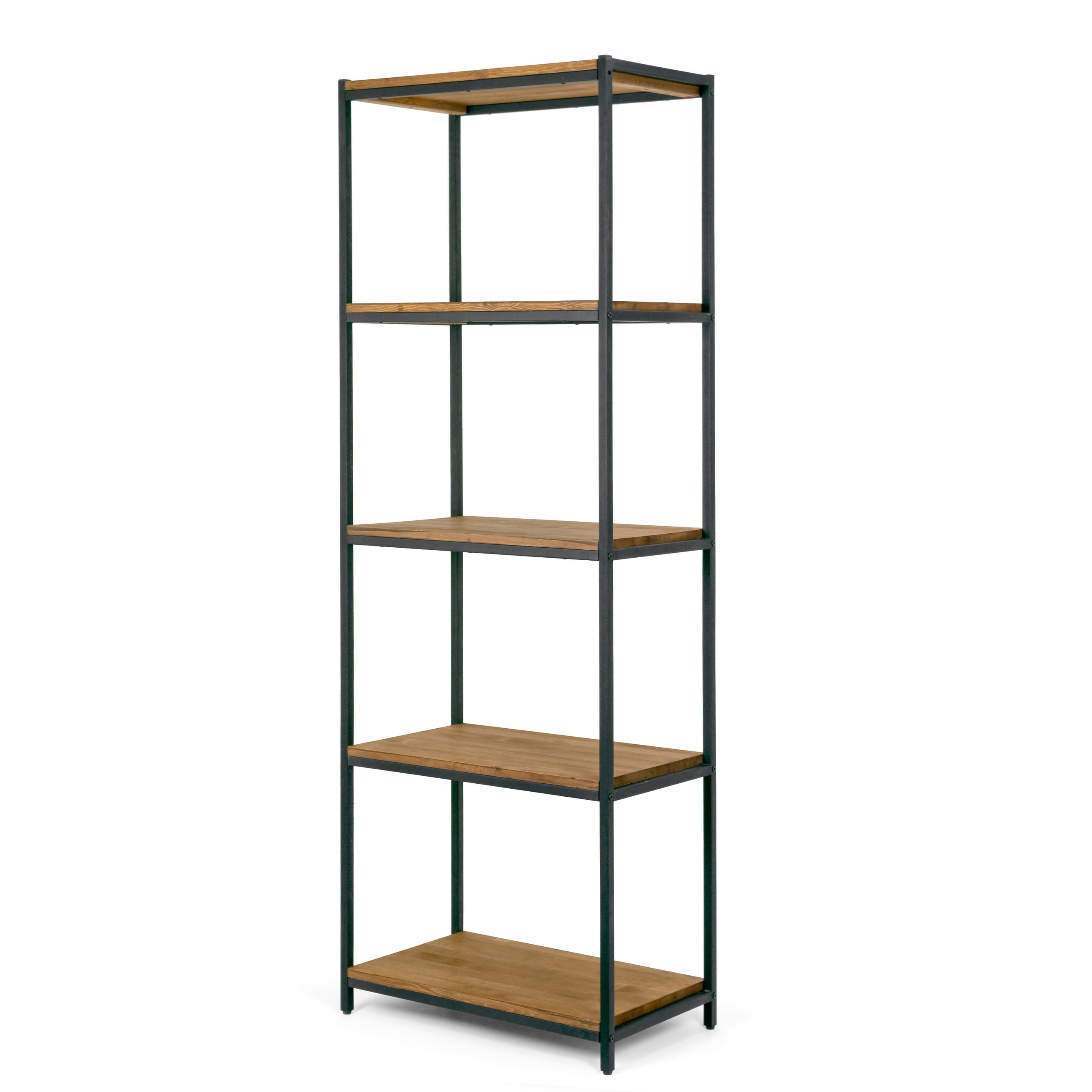 Ailis Brown Pine Wood Shelf Etagere Bookcase Media Center with Metal Frame by Glamour Home