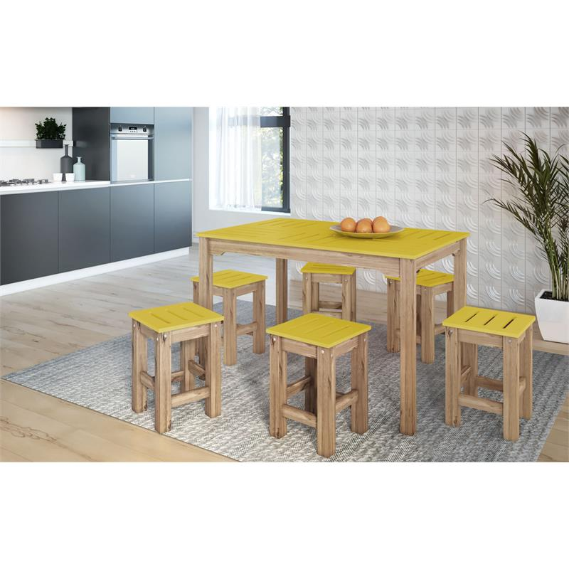 "7-Piece Stillwell 47.25""  Dining Set  in Yellow and Natural Wood"