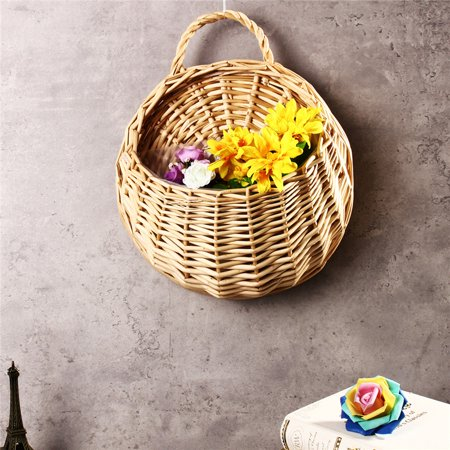 Hot Sale Handmade Rattan Flower Pot Plant Stand Holder DIY Home Wall Hanging Seagrass Woven Wicker Basket Decor