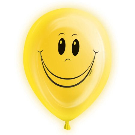 10 Happy Face Led Light Up Balloons 5ct Walmartcom