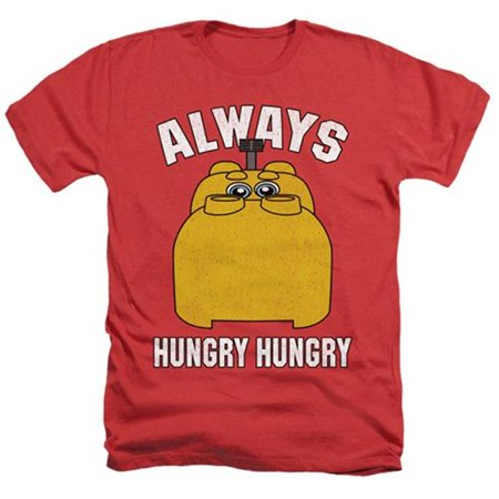 Trevco Sportswear HBRO268-HA-3 Hungry Hungry Hippos & Hungry Adult Regular Fit Heather Short Sleeve T-Shirt, Red -