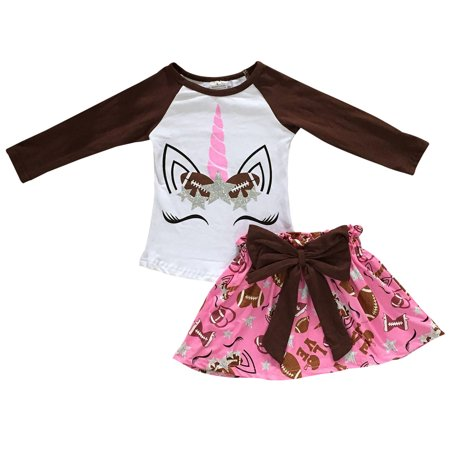 Birthday Outfits For Adults (Toddler Girls 2 Pieces Dress Unicorn Baseball Love Glitter Birthday Outfit White 2T XS)