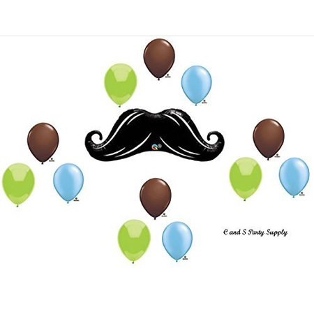 DASHING LITTLE MAN MUSTACHE BABY SHOWER BIRTHDAY Balloons Decorations Supplies....12 pieces! by Anagram
