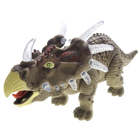 Powertrc Green Walking Triceratops Dinosaur Toy Figure With Many Lights   Loud Roar Sounds