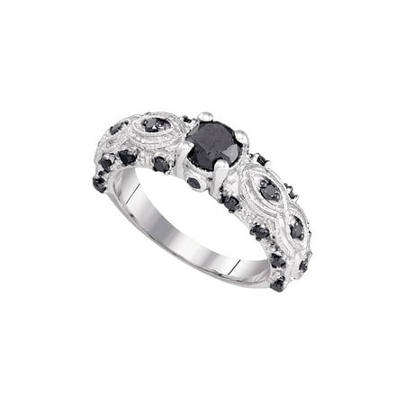 10kt White Gold Womens Round Black Color Enhanced Diamond Solitaire Bridal Wedding Engagement Ring 1.00 Cttw - April Wedding Colors
