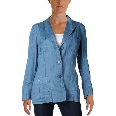 Lauren Ralph Lauren Womens Linen Long Sleeves Three-Button Blazer