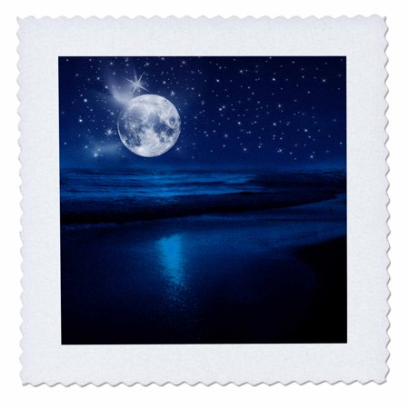3dRose Full moon shining in a starry sky on the beach where the ocean meets land. - Quilt Square, 10 by 10-inch