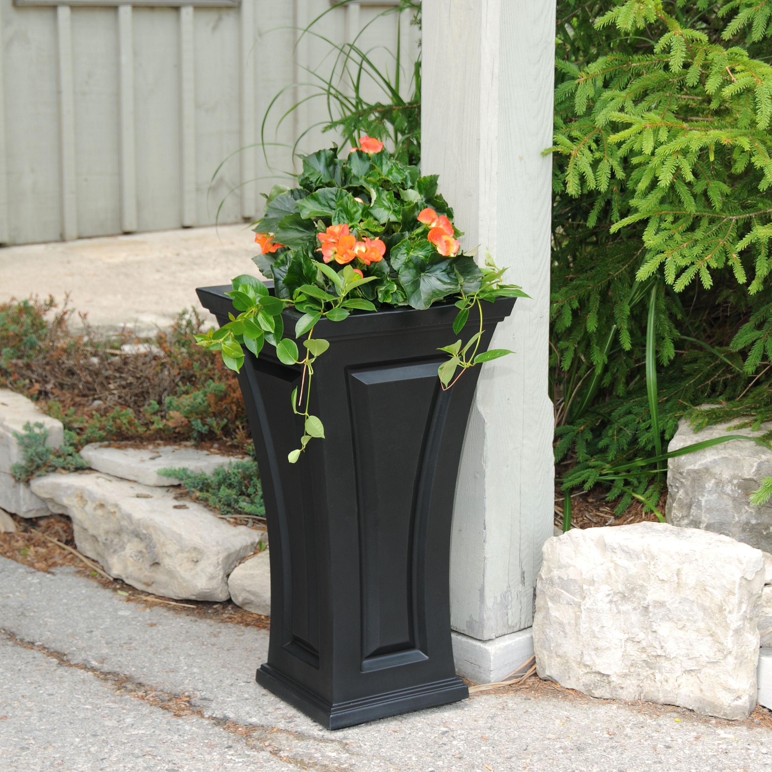 Cambridge Tall Planter Black by Garden Planters