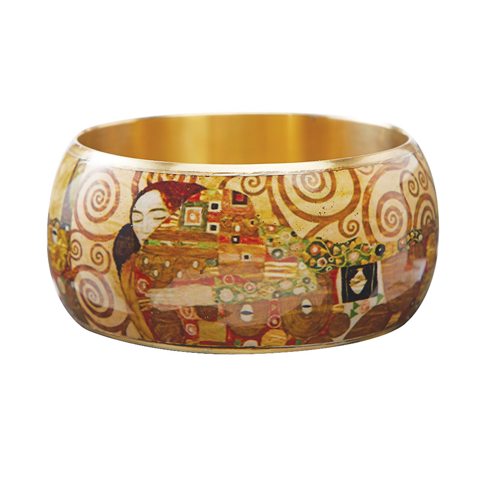 "Women's Klimt Fulfillment Bangle Bracelet - 1 1/2"" Wide Lacquered On Brass"
