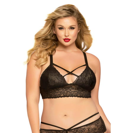 51b3f5fe6 Seven Til Midnight - Plus Size Sexy Galloon Lace Lattice Detail Bralette  Bra Top - Walmart.com