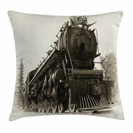 Canadian Pacific Steam Engine - Steam Engine Throw Pillow Cushion Cover, Antique Northern Express Train Canada Railways Photo Freight Machine Print, Decorative Square Accent Pillow Case, 18 X 18 Inches, Black Grey, by Ambesonne