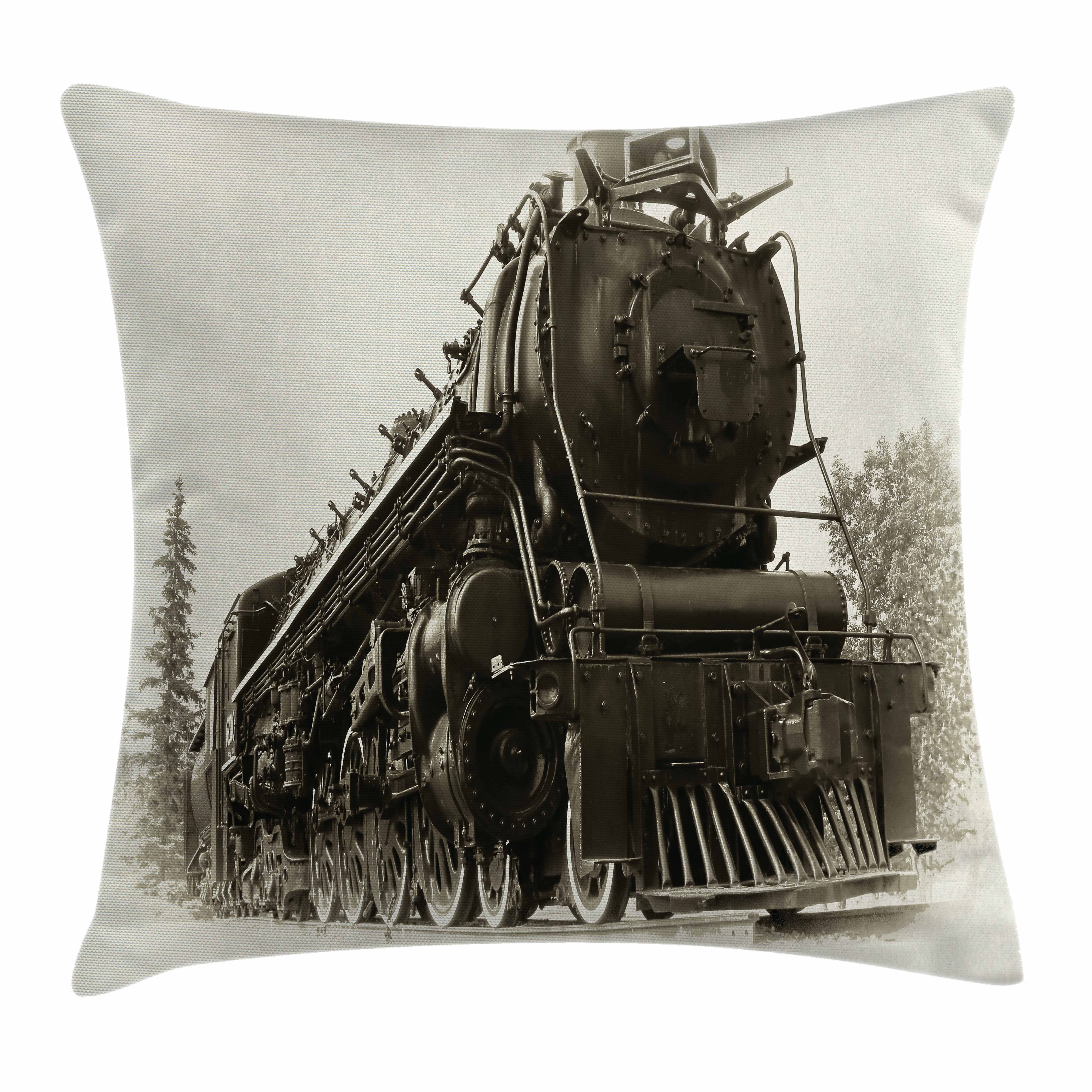 Steam Engine Throw Pillow Cushion Cover, Antique Northern Express Train Canada Railways Photo Freight Machine Print, Decorative Square Accent Pillow Case, 18 X 18 Inches, Black Grey, by Ambesonne