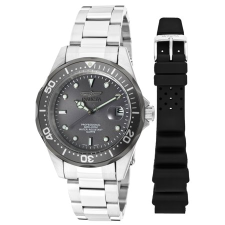 Invicta Men's Pro Diver Quartz 200m Silver Tone Stainless Steel Watch 12812