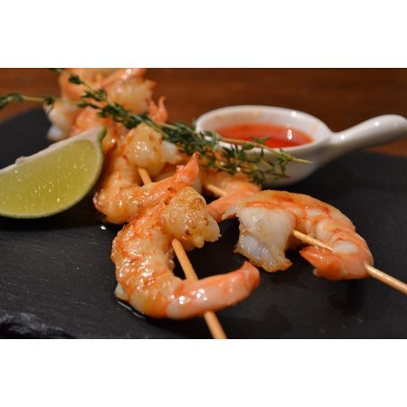 Canvas Print Food Shrimp Sauce Snacks Lime Restaurant Stretched Canvas 10 x 14