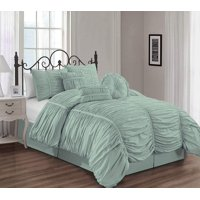 Chezmoi Collection Chic 7-Piece Ruched Ruffle Pleated Comforter Bedding Set