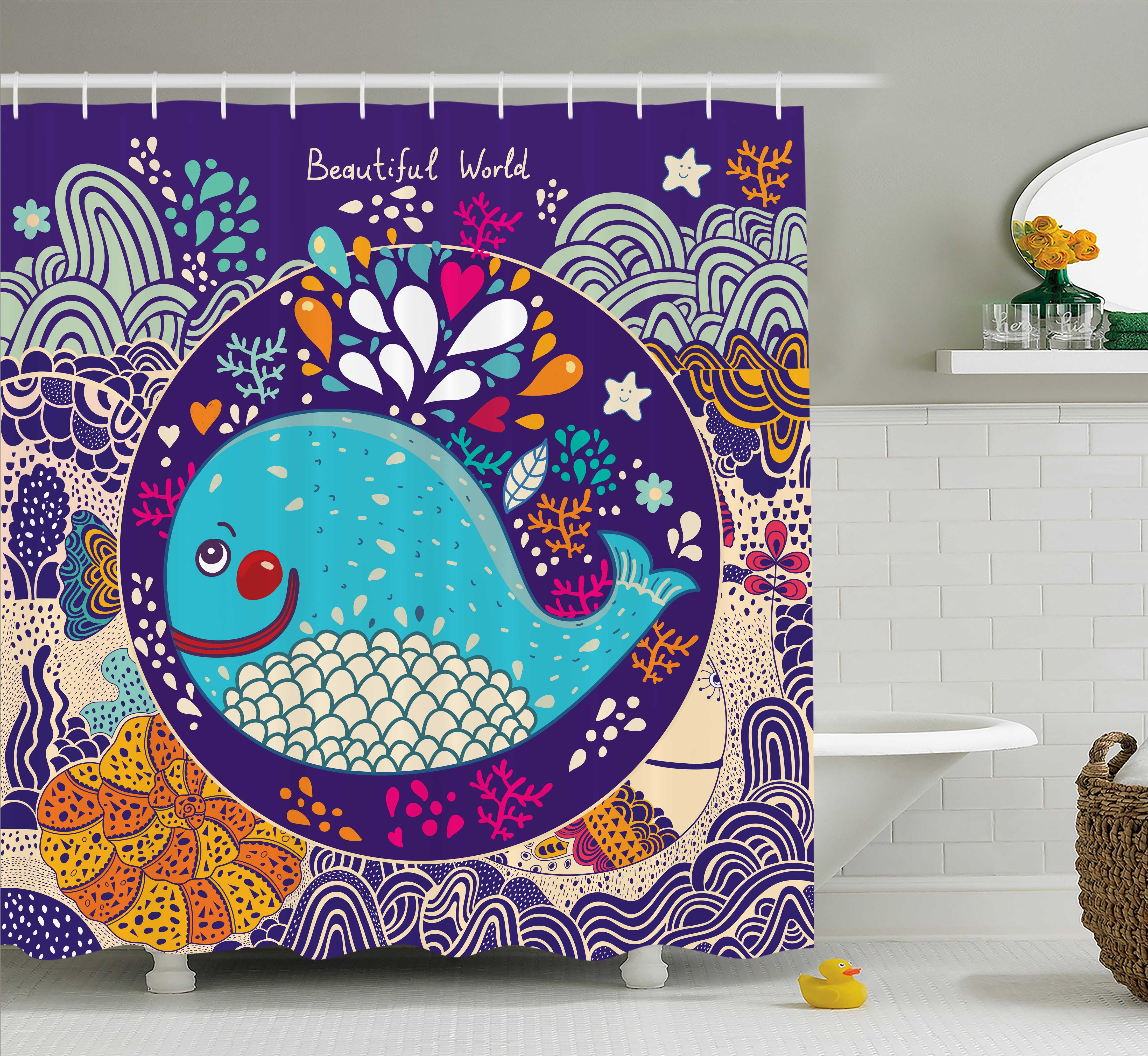 Kids Shower Curtain Set, Cartoon Illustration With Smiley Whale In Bubble  Water Drops Waves Starfish