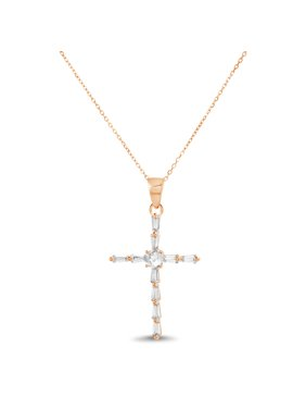 e76db61af Product Image Lesa Michele Religious Simulated Morganite Cubic Zirconia Cross  Pendant in Rose Gold over Sterling Silver