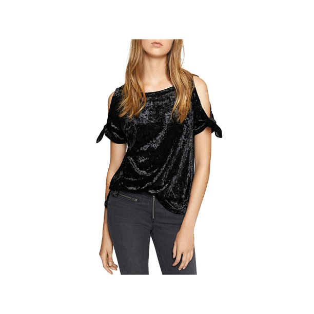 Sanctuary Womens Lou Lou Crushed Velvet Cold Shoulder T-Shirt
