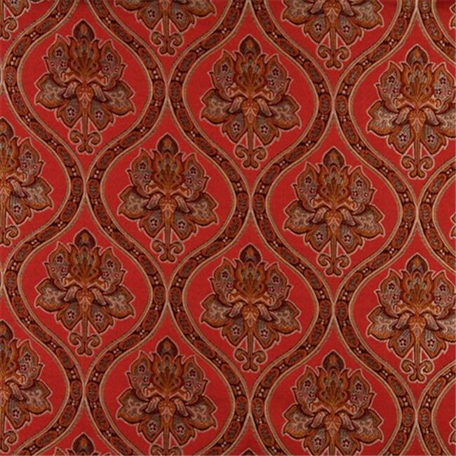 Designer Fabrics K0016G 54 in. Wide Red, Brown, Gold And Ivory Embroidered, Traditional Brocade, Upholstery And Window Treatments Fabric - image 1 de 1