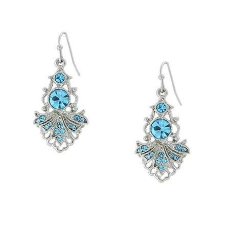 Aquamarine Jewelry - 1928 Jewelry Silver-Toned Aquamarine Color Crystal Vintage Costume Drop Earrings