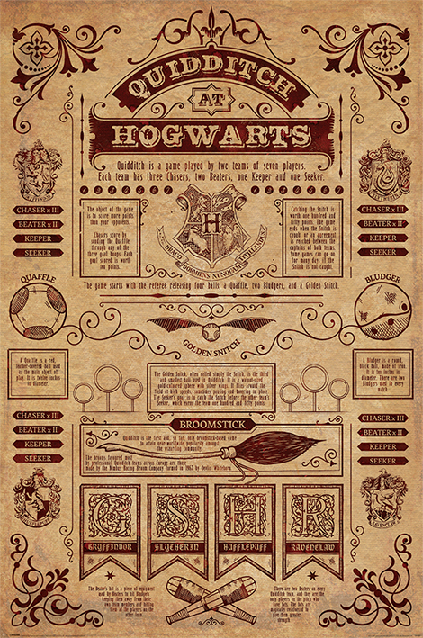 image about Harry Potter Printable Posters known as Harry Potter - Video clip Poster / Print (Quidditch At Hogwarts) (Dimension: 24\